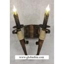 Бра деревянное Факел 2 рожка