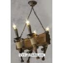 Люстра деревянная Факел 4 рожка