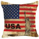 Наволочка винтаж флаг Америки и статуя Свободы