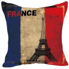 Наволочка винтаж флаг Франции и Эйфелева башня