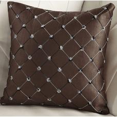 Наволочка декоративная квадраты коричневая