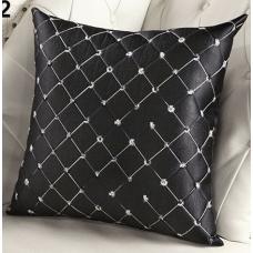 Наволочка декоративная квадраты черная